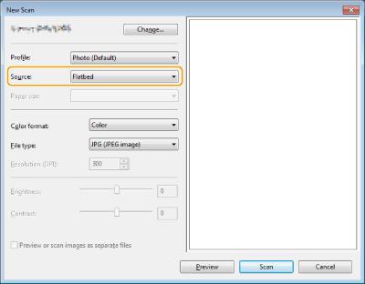 زمانی که کادر محاوره [Select Device] نشان داده شد، دستگاه را انتخاب و روی [OK] کلیک کنید. هفتم :از لیست کشویی [Source]، محلی که سند اصلی قرار داده می شود را انتخاب کنید. زمان قرار دادن سند اصلی روی صفحه شیشه ای، [Flatbed] را انتخاب کنید. زمان قرار دادن در تغذیه کننده، [Feeder (Scan one side)] را انتخاب کنید. اسکن اسناد اصلی با استفاده از WSD